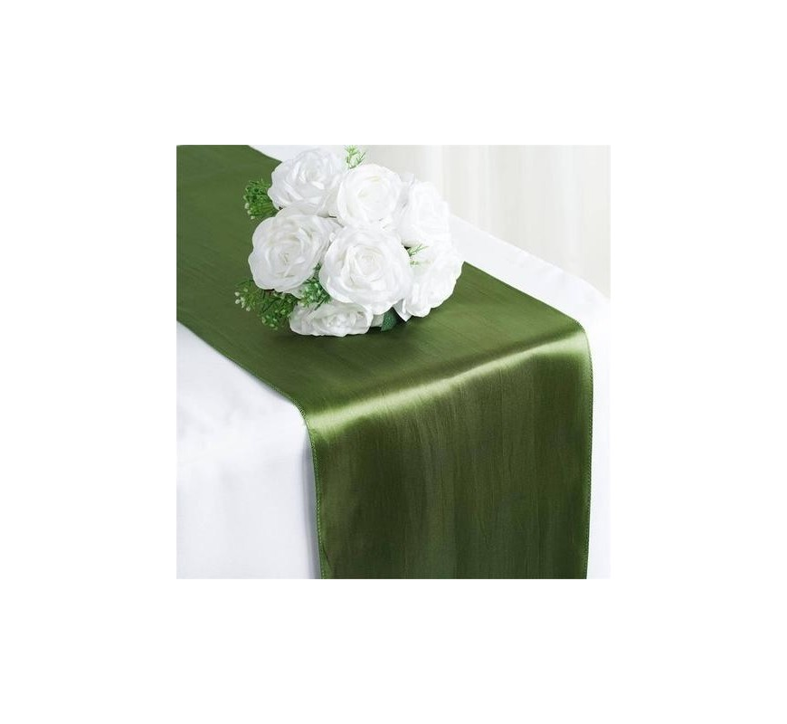 chemin de table satin vert olive les couleurs du mariage. Black Bedroom Furniture Sets. Home Design Ideas