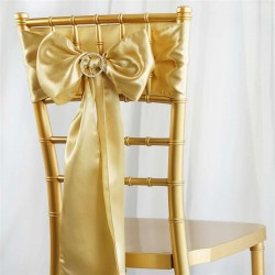 Noeud de chaise mariage satin champagne