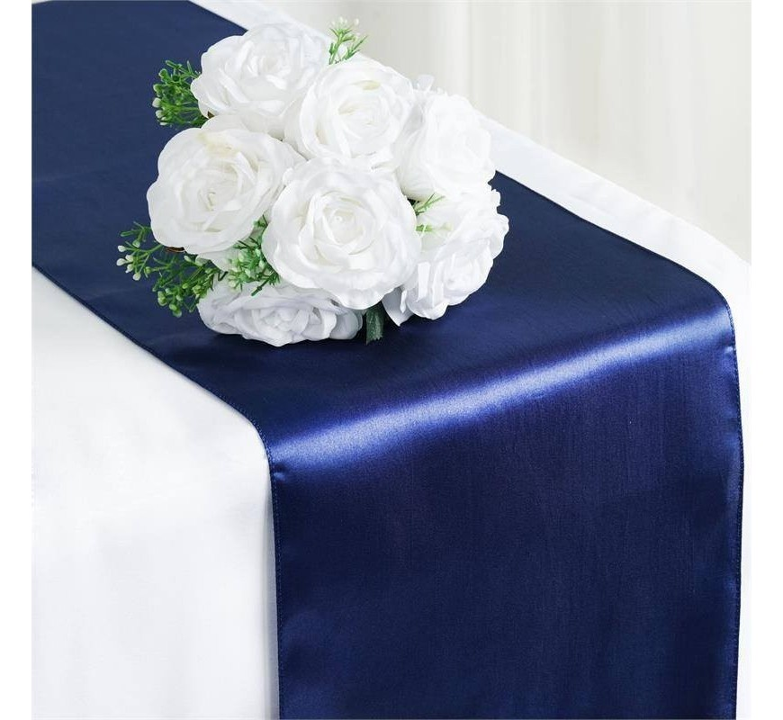 chemin de table mariage satin bleu marine les couleurs. Black Bedroom Furniture Sets. Home Design Ideas