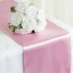 Chemin de table satin rose pale