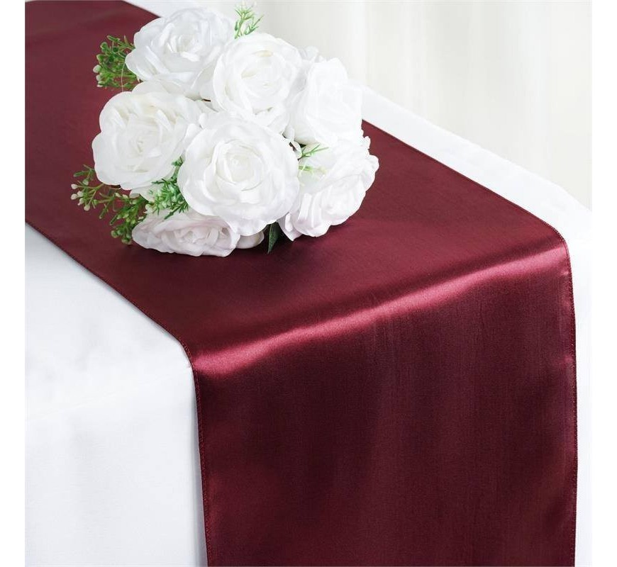 chemin de table mariage satin bordeaux les couleurs du. Black Bedroom Furniture Sets. Home Design Ideas
