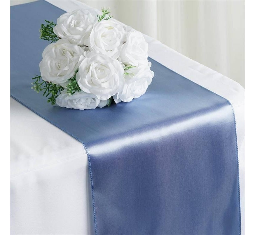 chemin de table mariage satin bleu gris les couleurs du mariage mariage et r ception. Black Bedroom Furniture Sets. Home Design Ideas