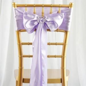 Noeud de chaise mariage satin parme
