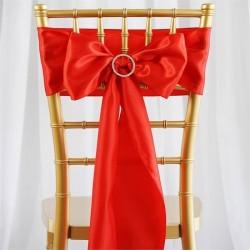 Noeud de chaise mariage satin rouge