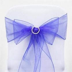 Noeud de chaise mariage organza bleu roi