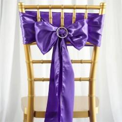 Noeud de chaise mariage satin violet