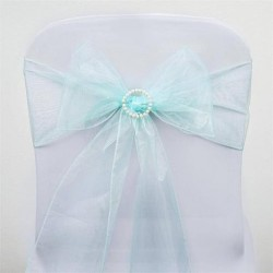 Noeud de chaise organza bleu ciel par 10