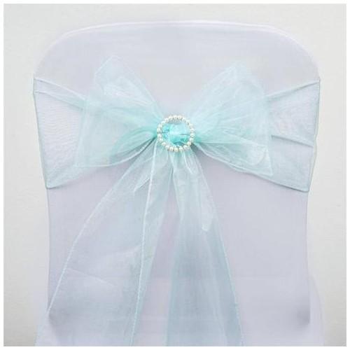 Noeud de chaise organza bleu ciel