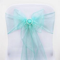 Noeud de chaise  organza bleu turquoise par 10