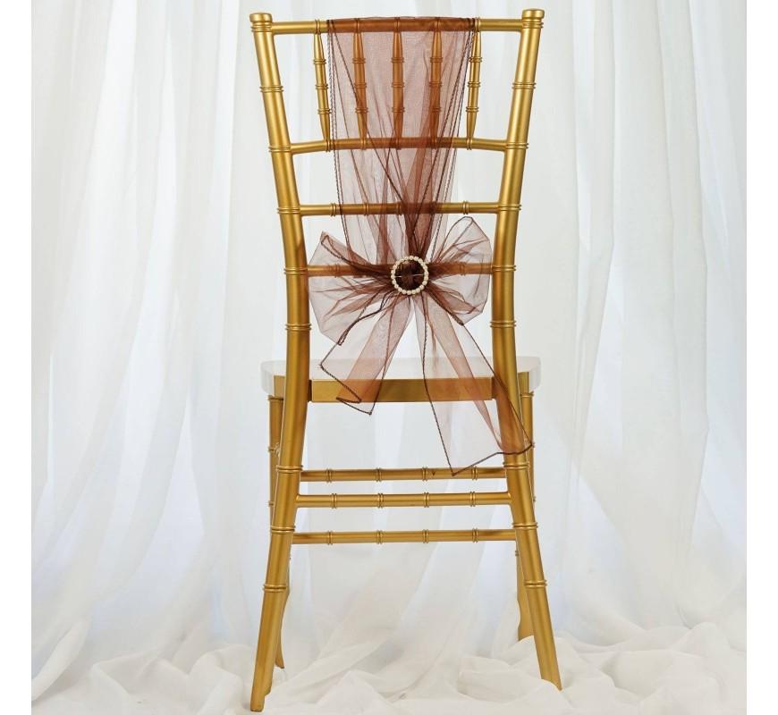 noeud de chaise organza chocolat par 10 les couleurs du mariage mariage et r ception. Black Bedroom Furniture Sets. Home Design Ideas