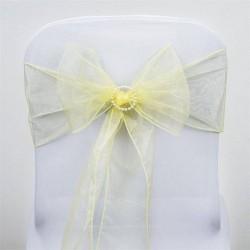Noeud de chaise maiage organza jaune par 10
