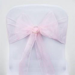 Noeud de chaise mariage organza rose pale