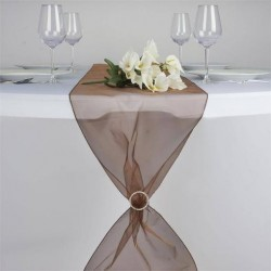 Chemin de table organza chocolat