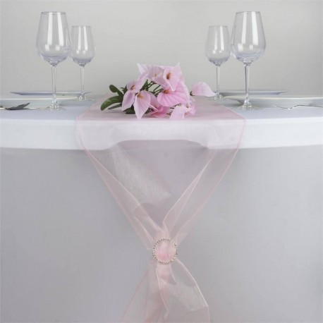 Chemin de table organza rose