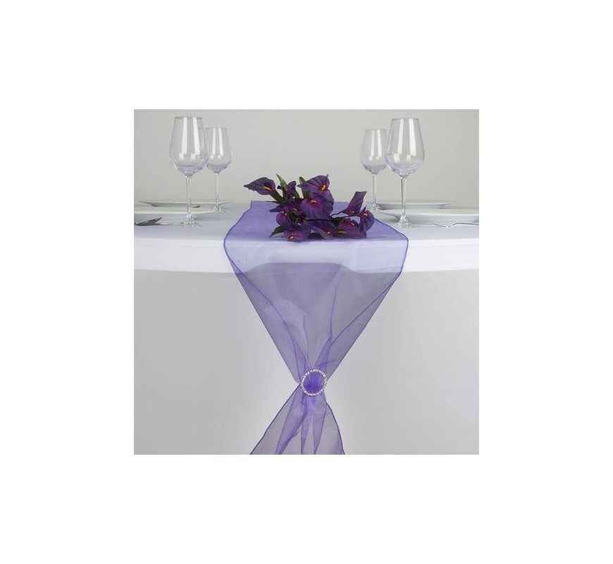 chemin de table organza violet les couleurs du mariage. Black Bedroom Furniture Sets. Home Design Ideas
