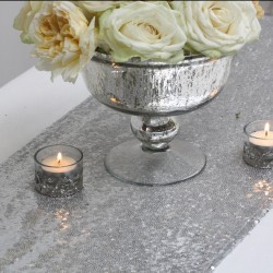 Chemin de table sequin argent