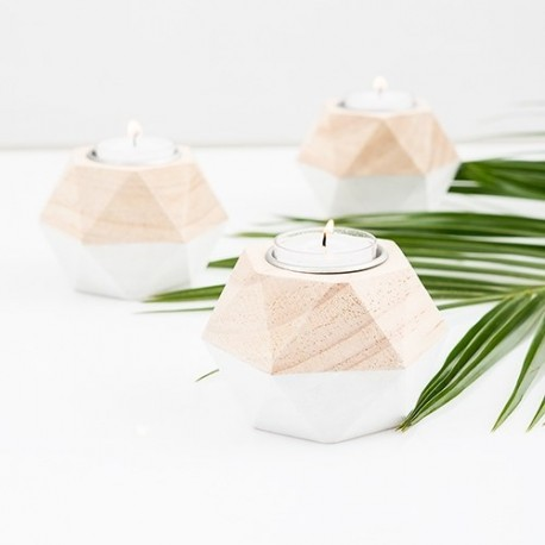 Photophore en bois géométrique