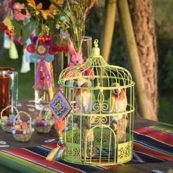 Cage à oiseaux décorative verte