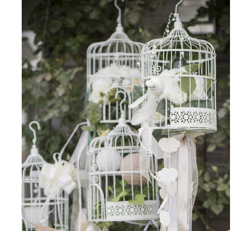 cage oiseaux d corative blanche les couleurs du mariage mariage et r ception. Black Bedroom Furniture Sets. Home Design Ideas