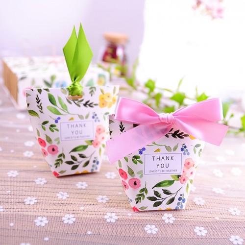 Boite à dragées champêtre florale