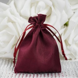 Sachet à dragées satin bordeaux par 10