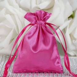 Sachet à dragées satin rose