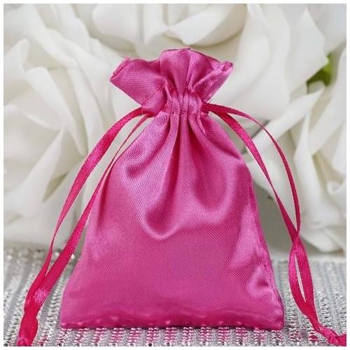 Sachet à dragées satin rose