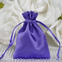 Sachet à dragées satin violet