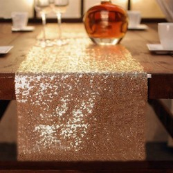 Chemin de table mariage sequin or
