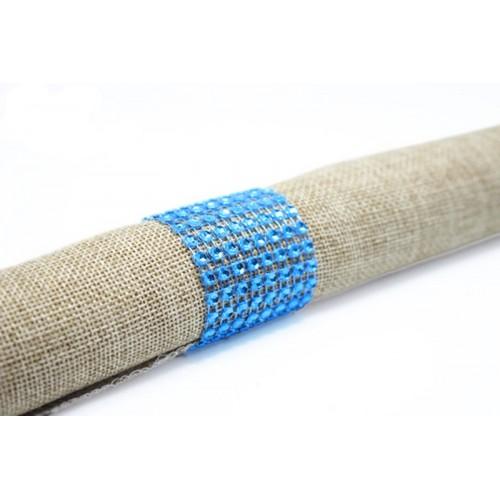Rond de serviette strass turquoise par 5