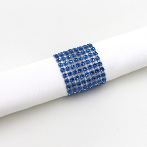 Rond de serviette strass bleu roi par 5