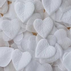 Pétales coeur blancs par 100