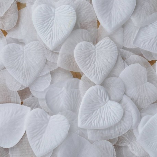 Pétales coeur blancs x 100