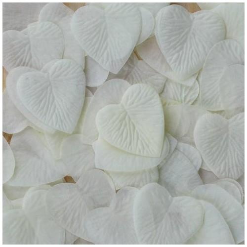 Pétales coeur ivoires x 100