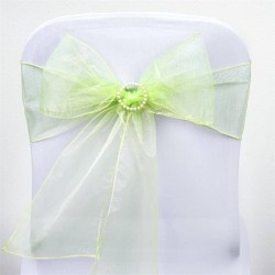 Noeud de chaise mariage organza vert pomme