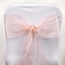 Noeud de chaise mariage organza rose quartz