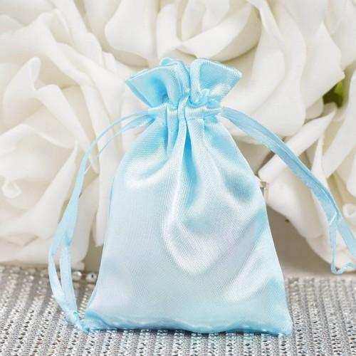 Sachet drag es satin bleu ciel par 10 les couleurs du for Le bleu turquoise se marie avec quelle couleur
