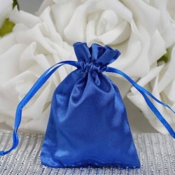 Sachet à dragées satin bleu par 10