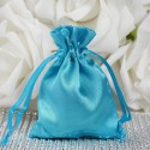 Sachet à dragées satin bleu turquoise par 10