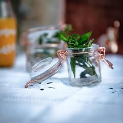 Mini pot en verre à bonbons cuivré par 4