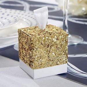 Boite à dragées paillette or par 5