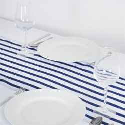 Chemin de table rayures bleu marine