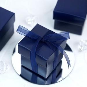Boite à dragées carrée bleu marine par 10
