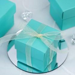 Boite à dragées carrée bleu turquoise par 10