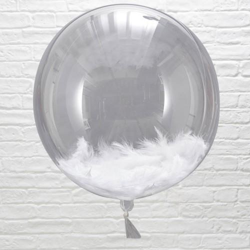 Ballon géant transparent avec plumes
