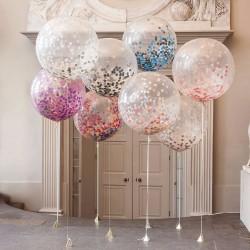 Ballon géant transparent avec confettis