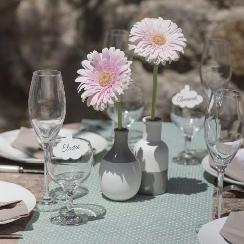 Chemin de table plumetis menthe
