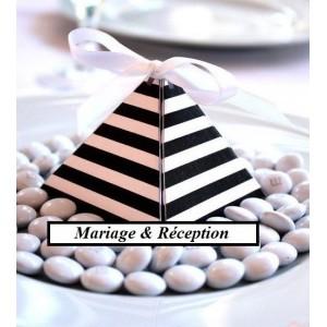 Boite à dragées pyramide à rayures par 10