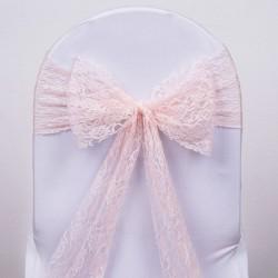Noeud de chaise en dentelle blush