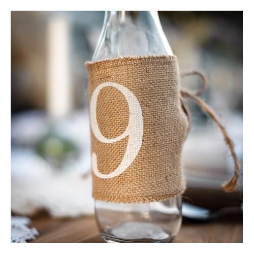Numéro de table en toile de jute ( par 12)